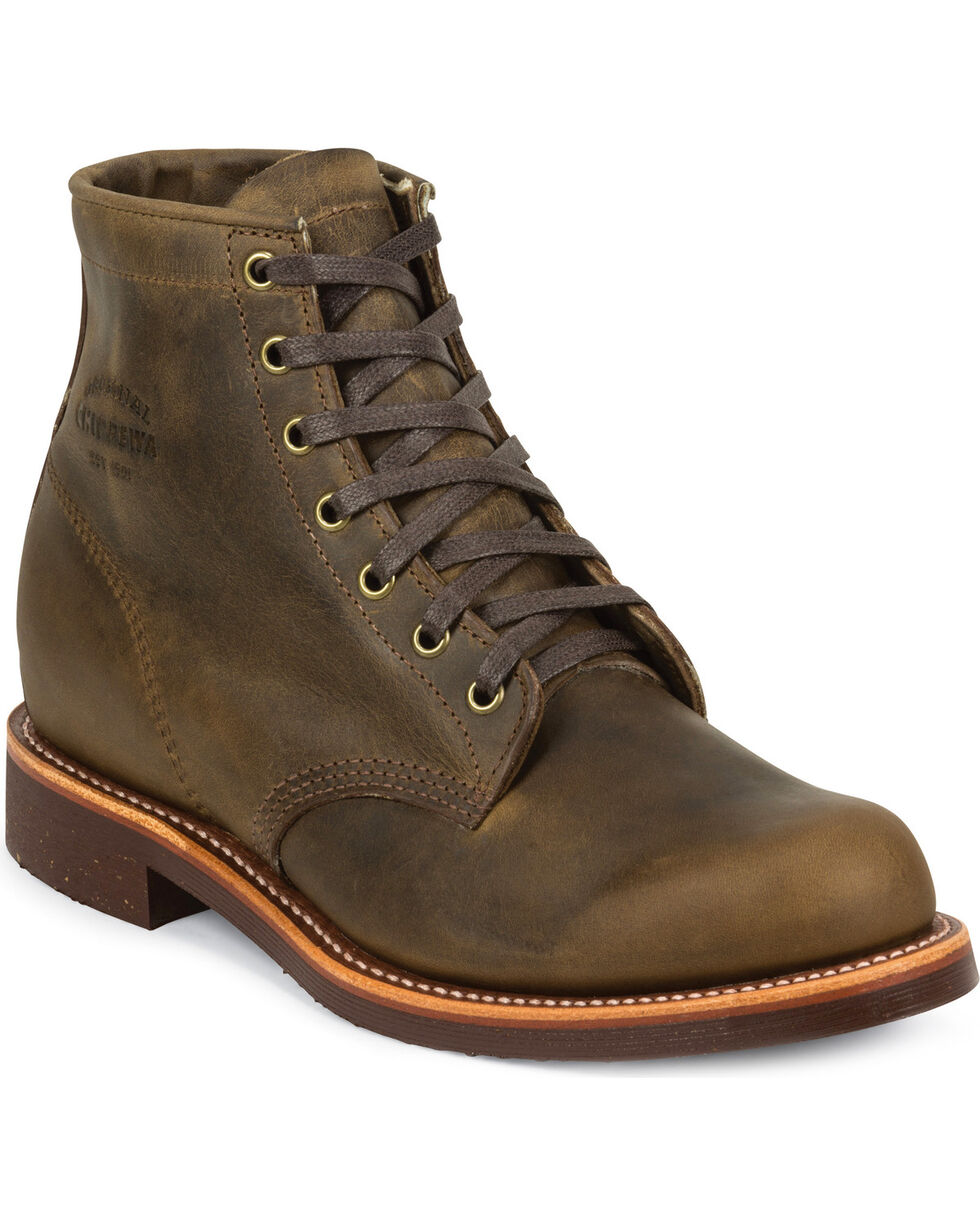 """Chippewa Men's 6"""" Lace-Up Crazy Horse Service Boots - Round Toe, Dark Brown, hi-res"""