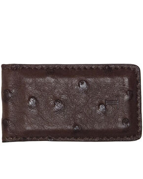 Lucchese Men's Sienna Ostrich Magnetic Money Clip , Brown, hi-res