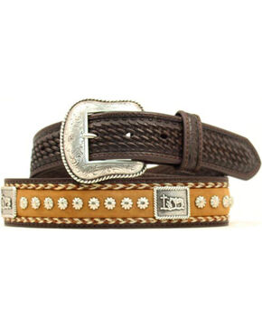 Nocona Cowboy Prayer Concho Western Belt, Brown, hi-res