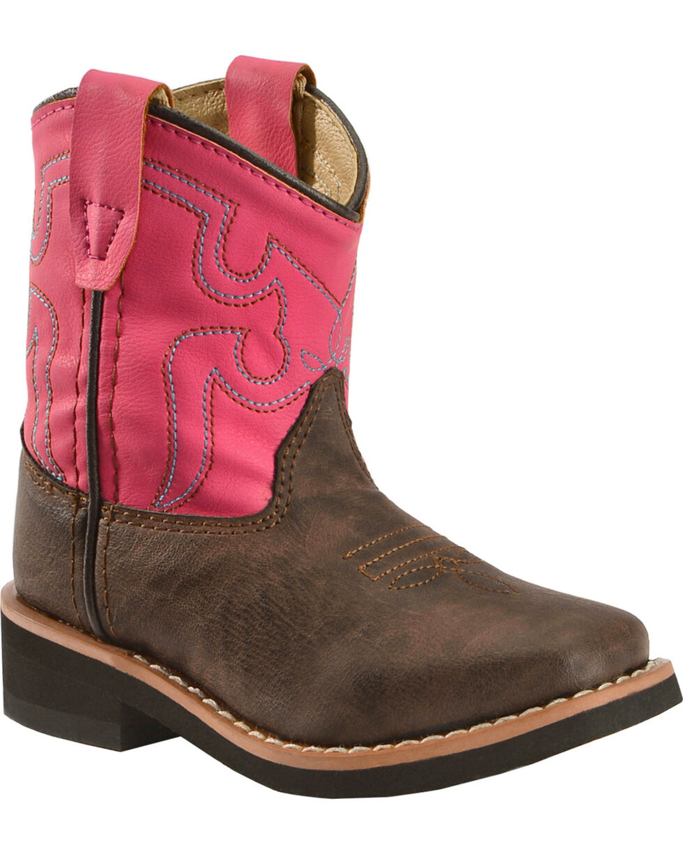 Swift Creek Toddler Girls' Chocolate and Raspberry Cowgirl Boots - Round Toe, , hi-res