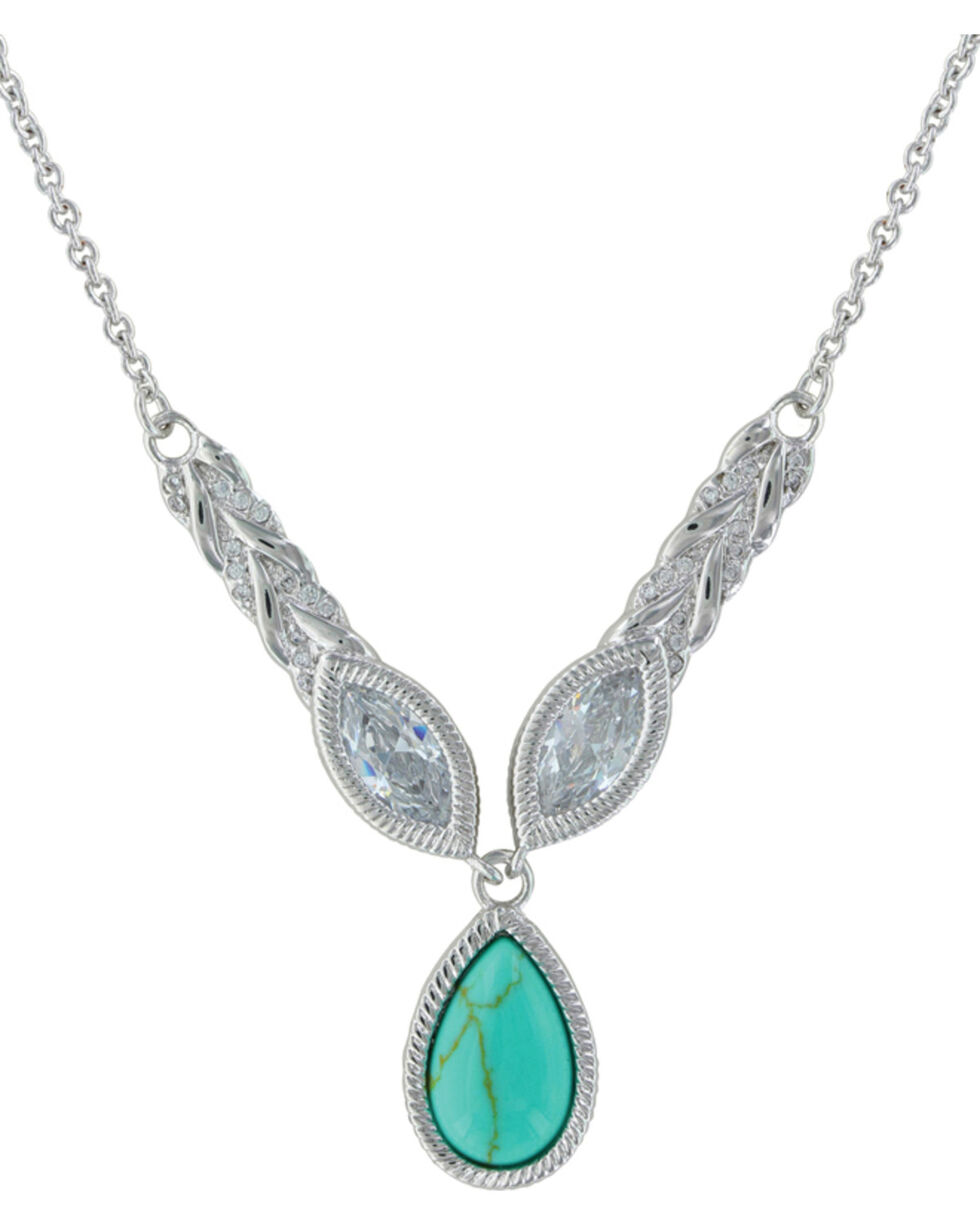 Montana Silversmiths Women's Silver Woven Light Lavalier Necklace , Silver, hi-res