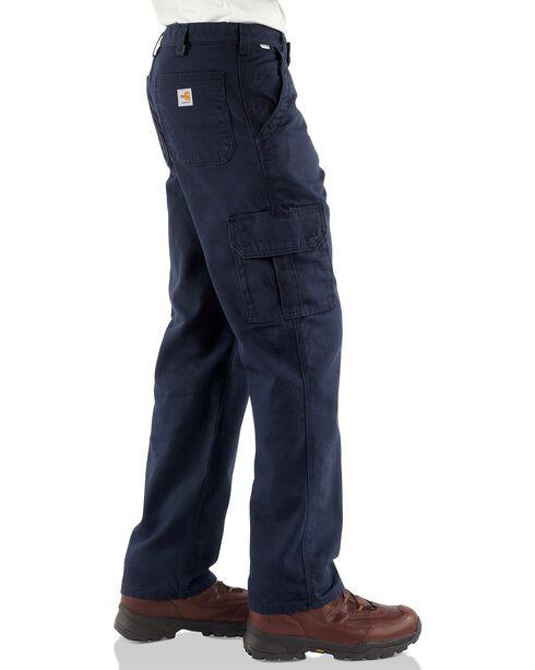 Carhartt Men's Flame-Resistant Canvas Cargo Pants, Navy, hi-res