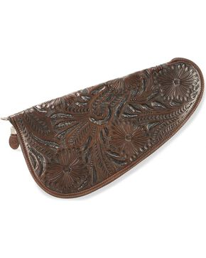 3D Large Floral Tooled Leather Pistol Case, Dark Brown, hi-res
