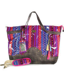 Catchfly Women's Patterned Overnight Bag, Pink, hi-res