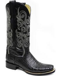 Stetson Women's Josie Black Caiman Western Boots - Square Toe, , hi-res