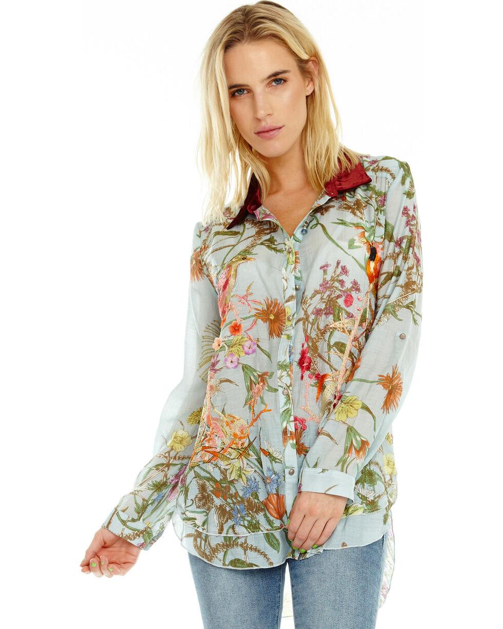 Aratta Women's Lilia Button Down Floral Shirt, Light Blue, hi-res
