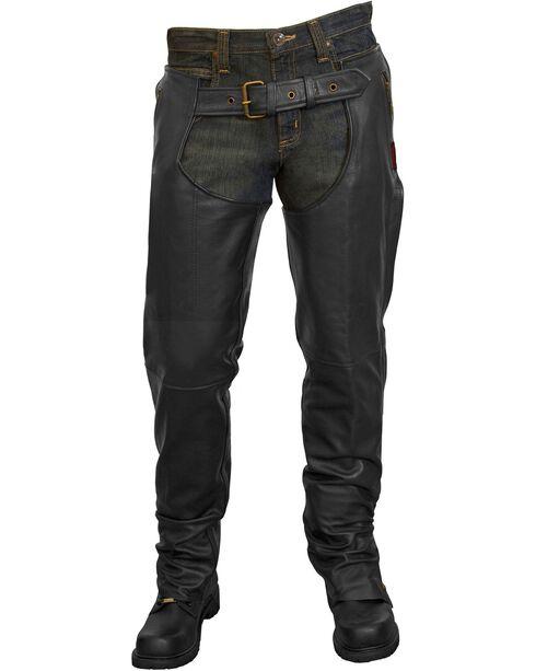 Milwaukee Unisex Leather Motorcycle Chaps, Black, hi-res