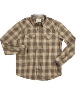 Cody James® Men's Plaid Printed Long Sleeve Shirt , Tan, hi-res
