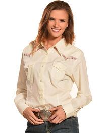Wrangler Women's Natural Premium Patch Fashion Western Shirt  , , hi-res