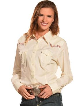 Wrangler Women's Natural Premium Patch Fashion Western Shirt  , Natural, hi-res