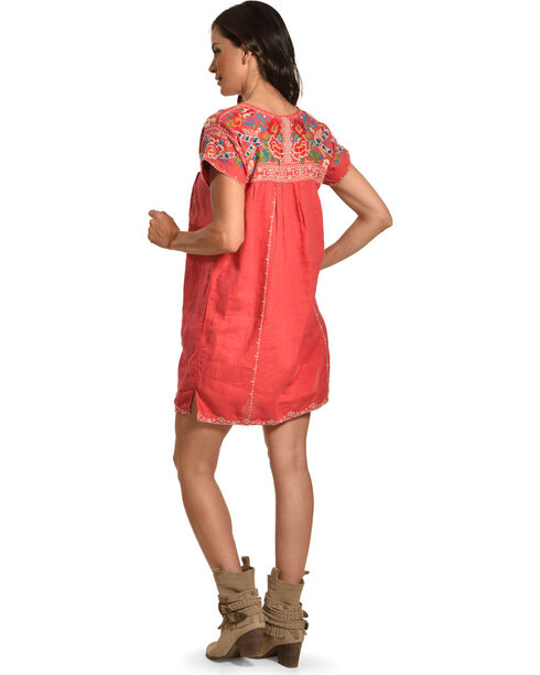 Johnny Was Women's Pink Samira Pleated Peasant Tunic , Pink, hi-res
