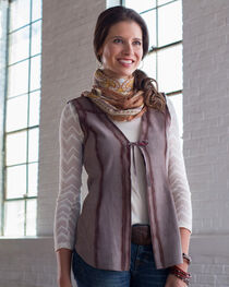Ryan Michael Women's Grey Reversible Leather Vest , Grey, hi-res