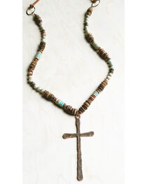 Jewelry Junkie Women's Aqua Terra and Wood Necklace with Copper Cross, , hi-res