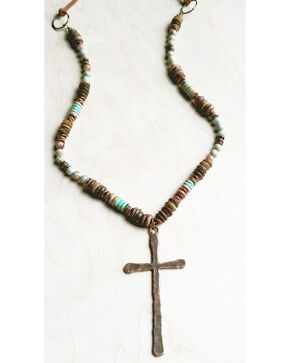Jewelry Junkie Women's Aqua Terra and Wood Necklace with Copper Cross, Rust Copper, hi-res