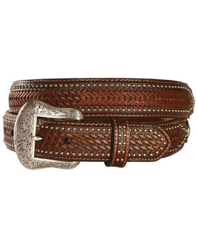 Nocona Men's Ostrich Underlay Western Belt, Brown, hi-res