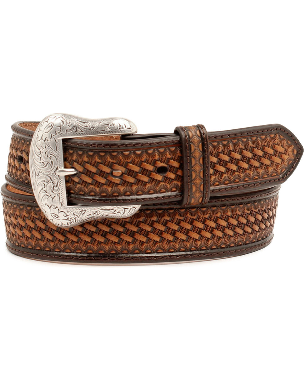 Nocona Men's Embossed Basketweave Leather Belt, Black, hi-res