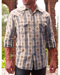 Ryan Michael Men's Rattan Large Aztec Dobby Plaid Shirt , , hi-res