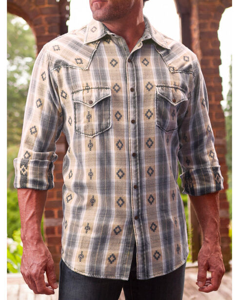 Ryan Michael Men's Rattan Large Aztec Dobby Plaid Shirt , Natural, hi-res