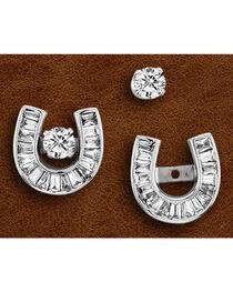 Kelly Herd Sterling Silver Baguette Rhinestone Horseshoe Earrings, , hi-res