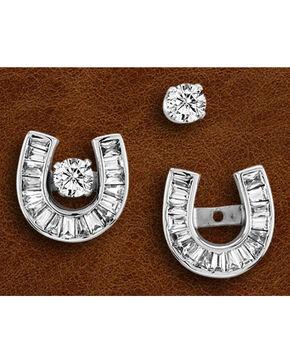 Kelly Herd Sterling Silver Baguette Rhinestone Horseshoe Earrings, Silver, hi-res