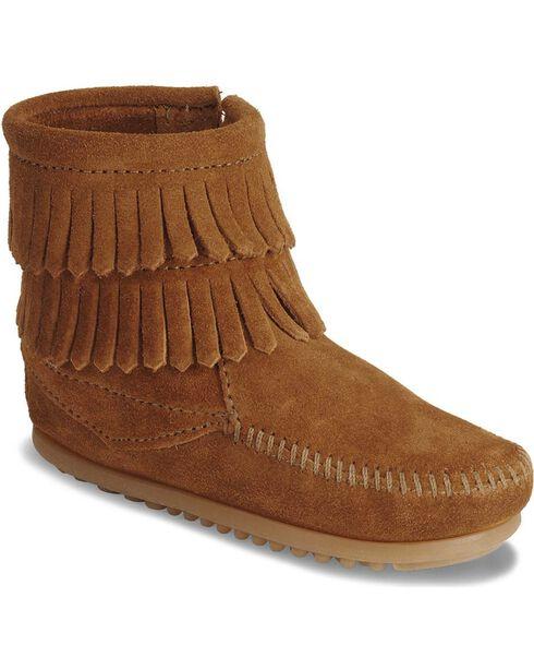Minnetonka Infant Girls' Double Fringe Side Zip Moccasin Boots, Brown, hi-res