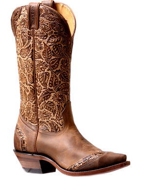 Boulet Women's Floral Tooled Cowgirl Boots - Snip Toe, Tan, hi-res