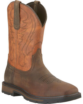Ariat Groundbreaker Cowboy Boots - Square Toe, Brown, hi-res