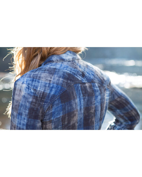Ryan Michael Women's Tiered Sleeve Plaid Shirt , Indigo, hi-res