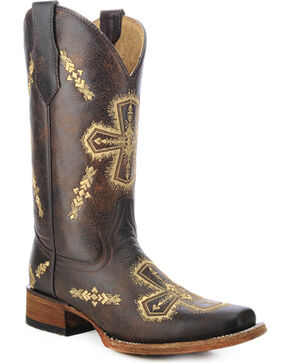 Circle G Women's Embroidered Cross Western Boots, Brown, hi-res