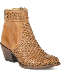 Stetson Women's Phoenix Basketweave Side Zip Ankle Boots - Round Toe, , hi-res