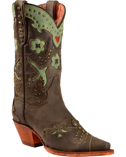 Dan Post Wild Bird Cowgirl Boots - Snip Toe  , Black, hi-res