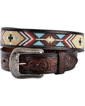 3D Belt Co. Men's Beaded Aztec Handtooled Leather Belt, Multi, hi-res