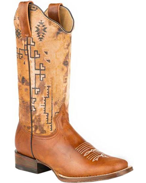Roper Women's Goat Print Western Boots, Brown, hi-res