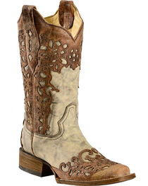 Corral Women's Flower Overlay Square Toe Fashion Boots, , hi-res