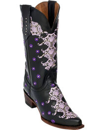 Ferrini Black Country Lace Cowgirl Boots - Snip Toe, , hi-res