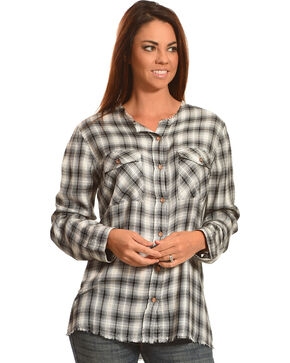 New Direction Sport Women's Plaid Split Back Western Shirt, Black, hi-res