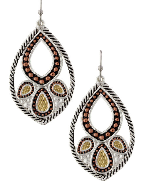 Montana Silversmiths Twisted Rope Paisley Earrings, Silver, hi-res
