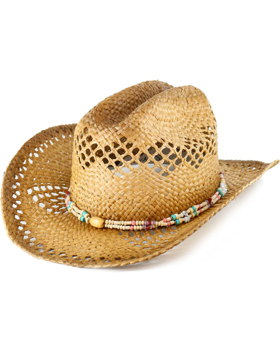 Shyanne® Women's Beaded Straw Hat , Natural, hi-res