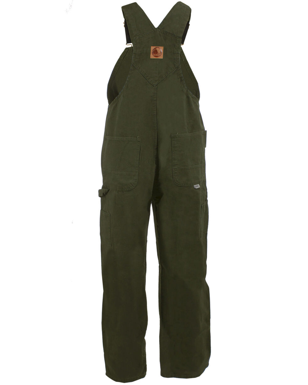 Berne Men's Unlined Washed Duck Bib Overalls - Short Size (30), Moss, hi-res