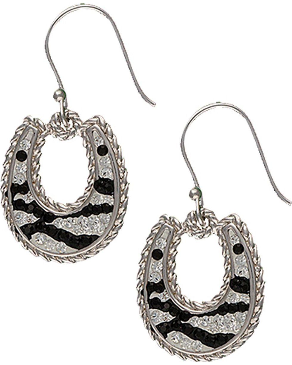 Montana Silversmiths Zebra Horseshoe Earrings, Silver, hi-res