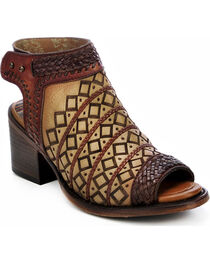 Corral Women's Laser Cut Peep Toe Short Booties, , hi-res