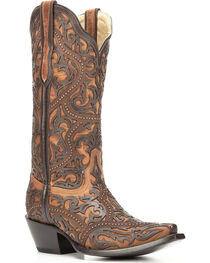 Corral Women's Brown Full Overlay Boots - Snip Toe , , hi-res
