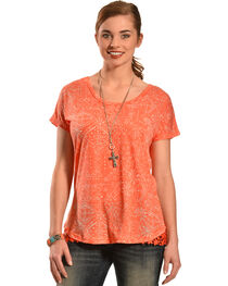 New Direction Sport Women's Orange Lace Top , , hi-res