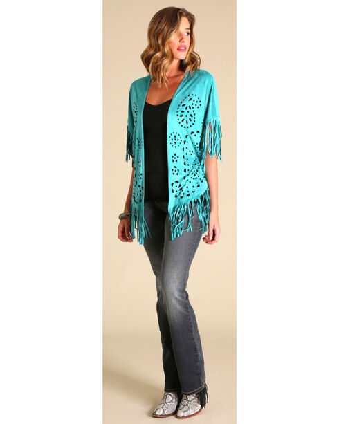 Wrangler Faux Suede Laser Cut Cardigan, Turquoise, hi-res