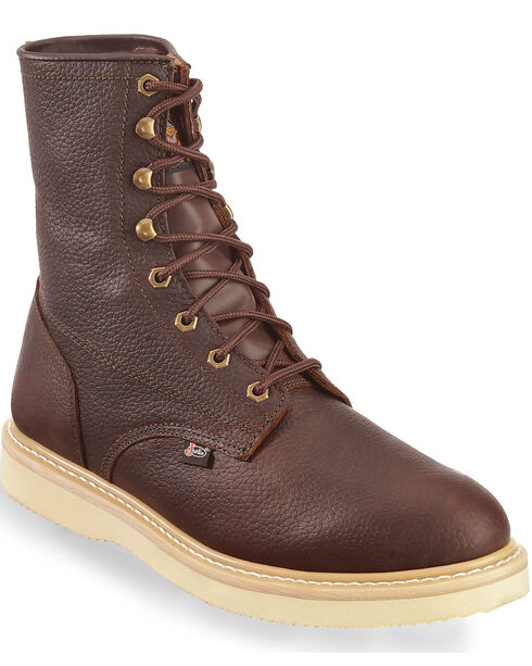 "Justin Men's Wedge 8"" Lace-Up Work Boots, Tan, hi-res"