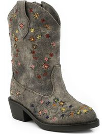 Roper Toddler Girls' Floral Embroidered Cowgirl Boots - Round Toe, , hi-res