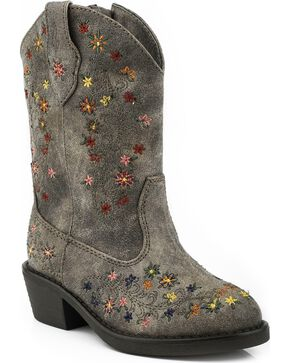 Roper Toddler Girls' Floral Embroidered Cowgirl Boots - Round Toe, Brown, hi-res