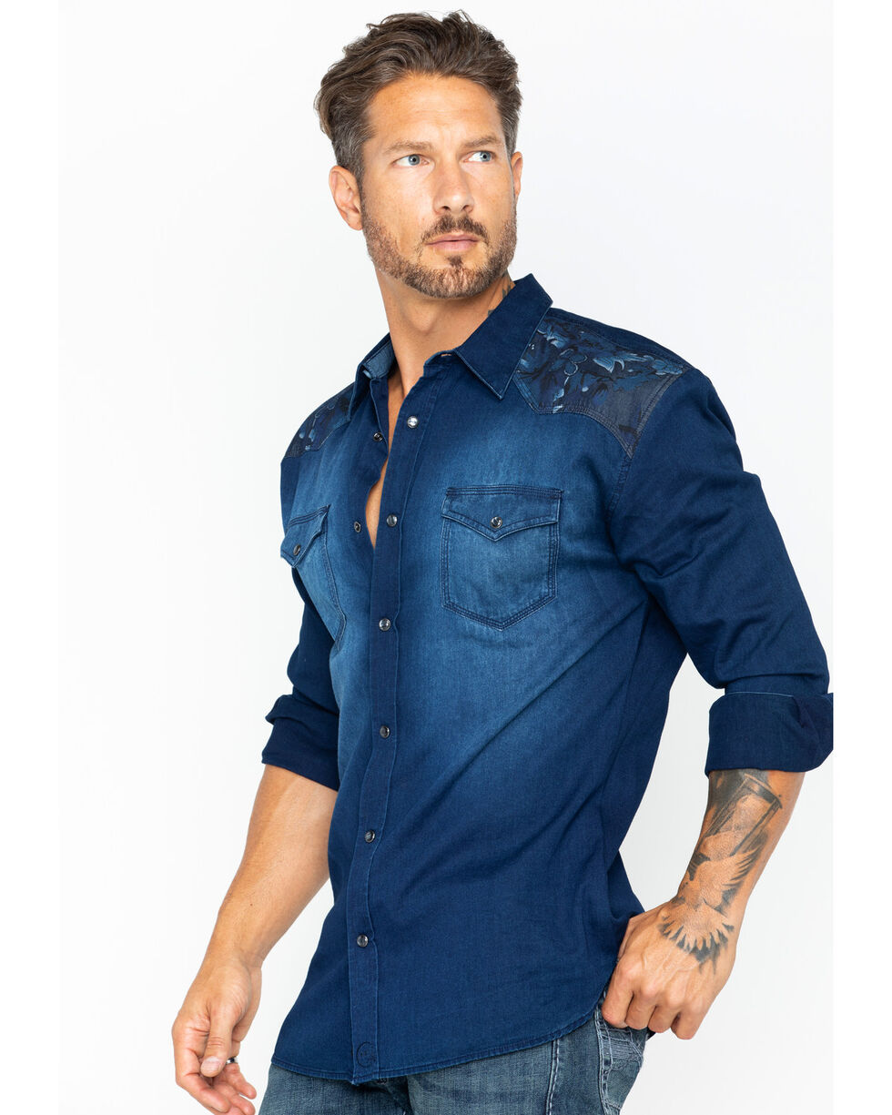 Moonshine Spirit Men's Wildflower Denim Shirt, Dark Blue, hi-res