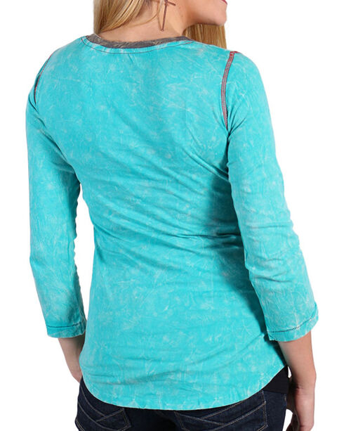 Panhandle Women's Triple Action Rodeo Shirt, Turquoise, hi-res