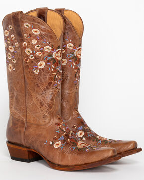 Shyanne® Women's Floral Embroidered Western Boots , Brown, hi-res
